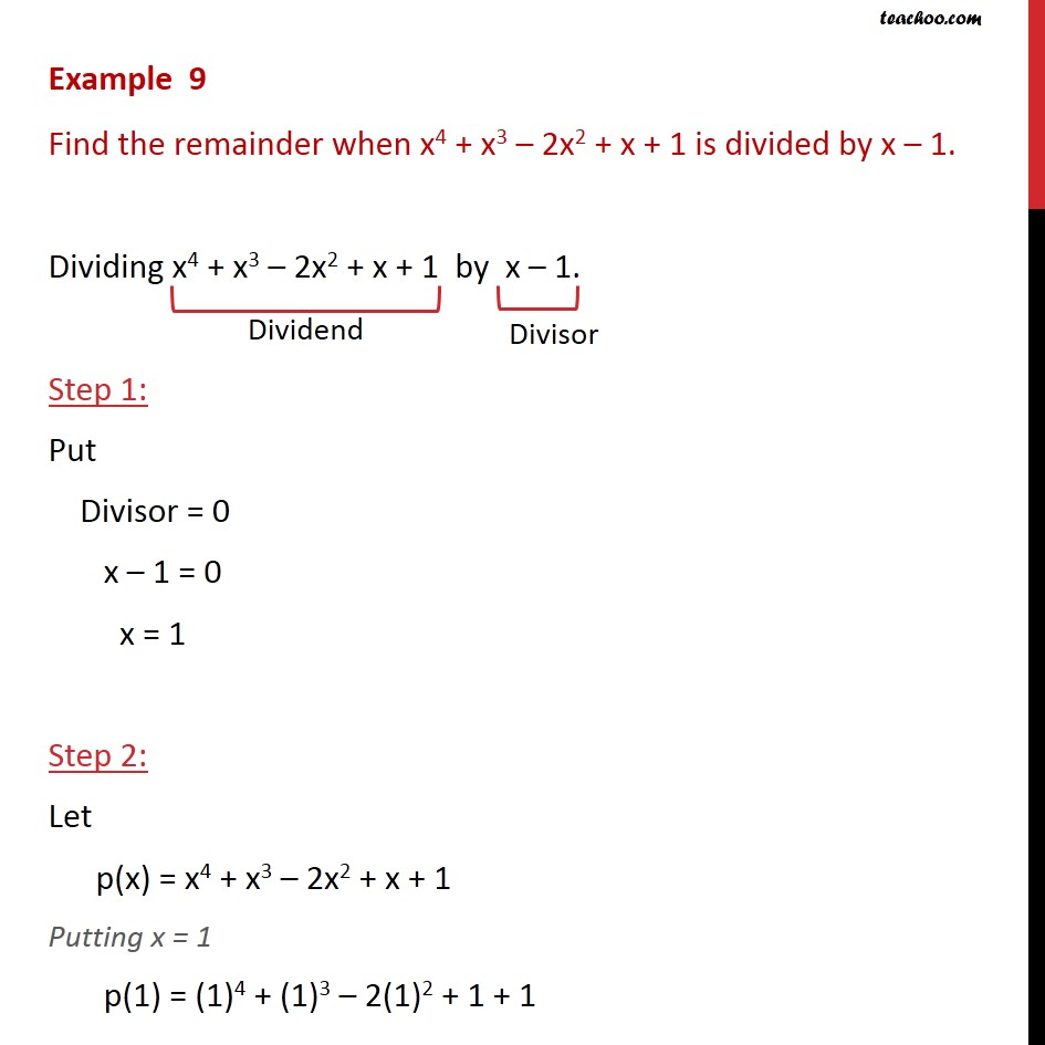 Example 9 - Find remainder when x4 + x3 - 2x2 + x + 1 - Examples