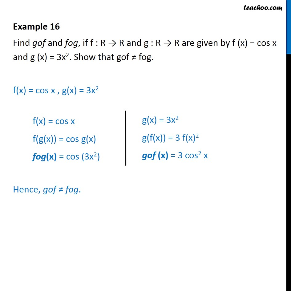 Example 16 - Find gof, fog f(x) = cos x, g(x) = 3x2 - Examples