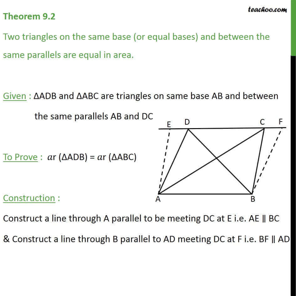 4 Theorem 9.2 - Thus ABFD and ABCE are two Parallelograms between two Parallels AB EF and on same base AB.jpg