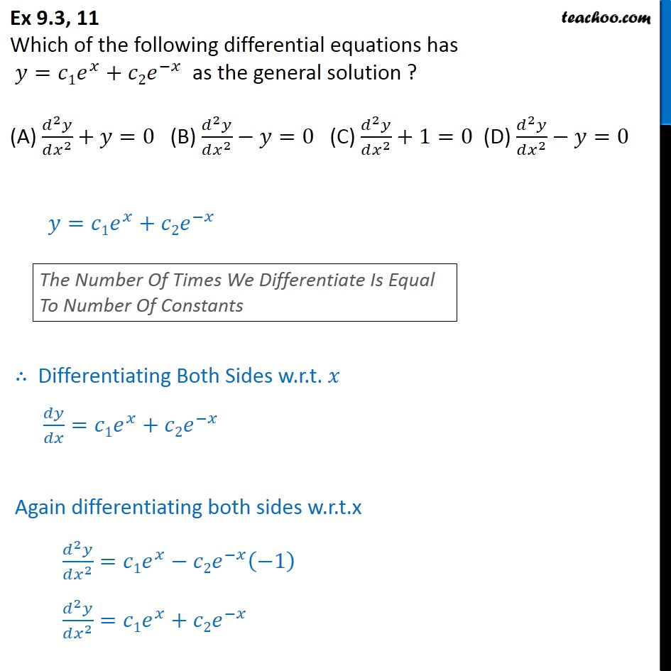 Ex 9.3, 11 - Which differential equations has y = c1 ex + c2 e-x - Ex 9.3