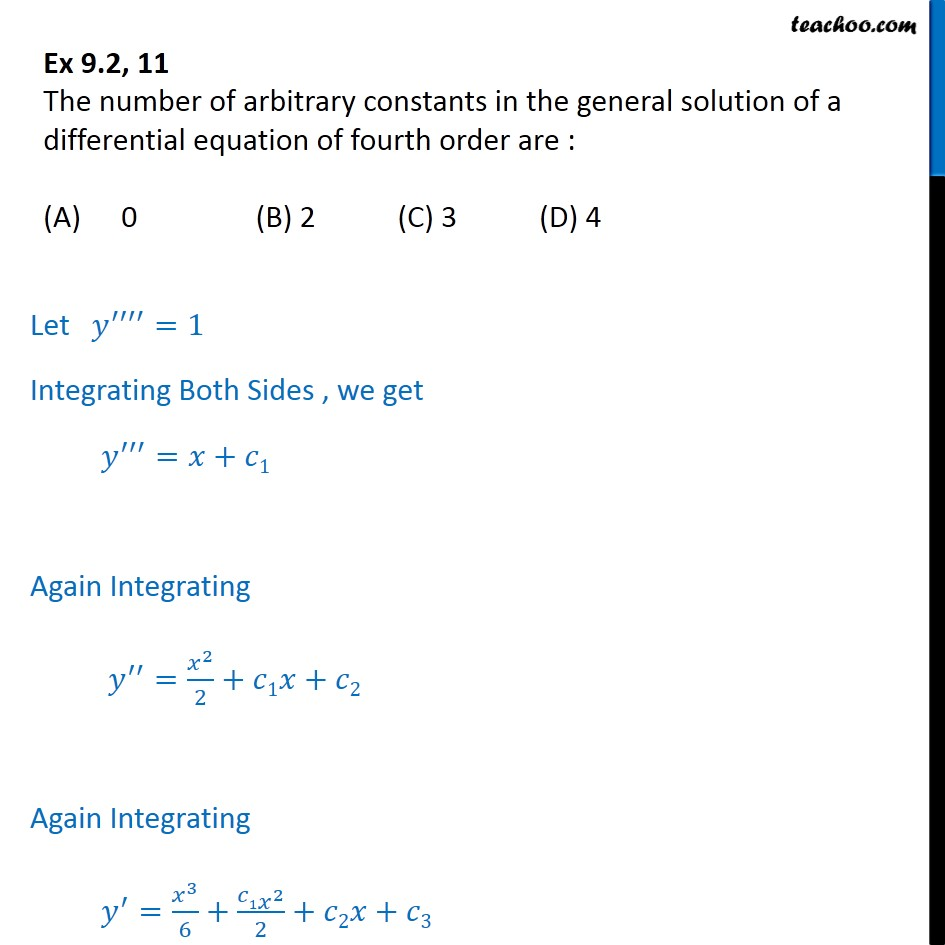 Ex 9.2, 11 - Number of arbitrary constants in general solution - Gen and Particular Solution