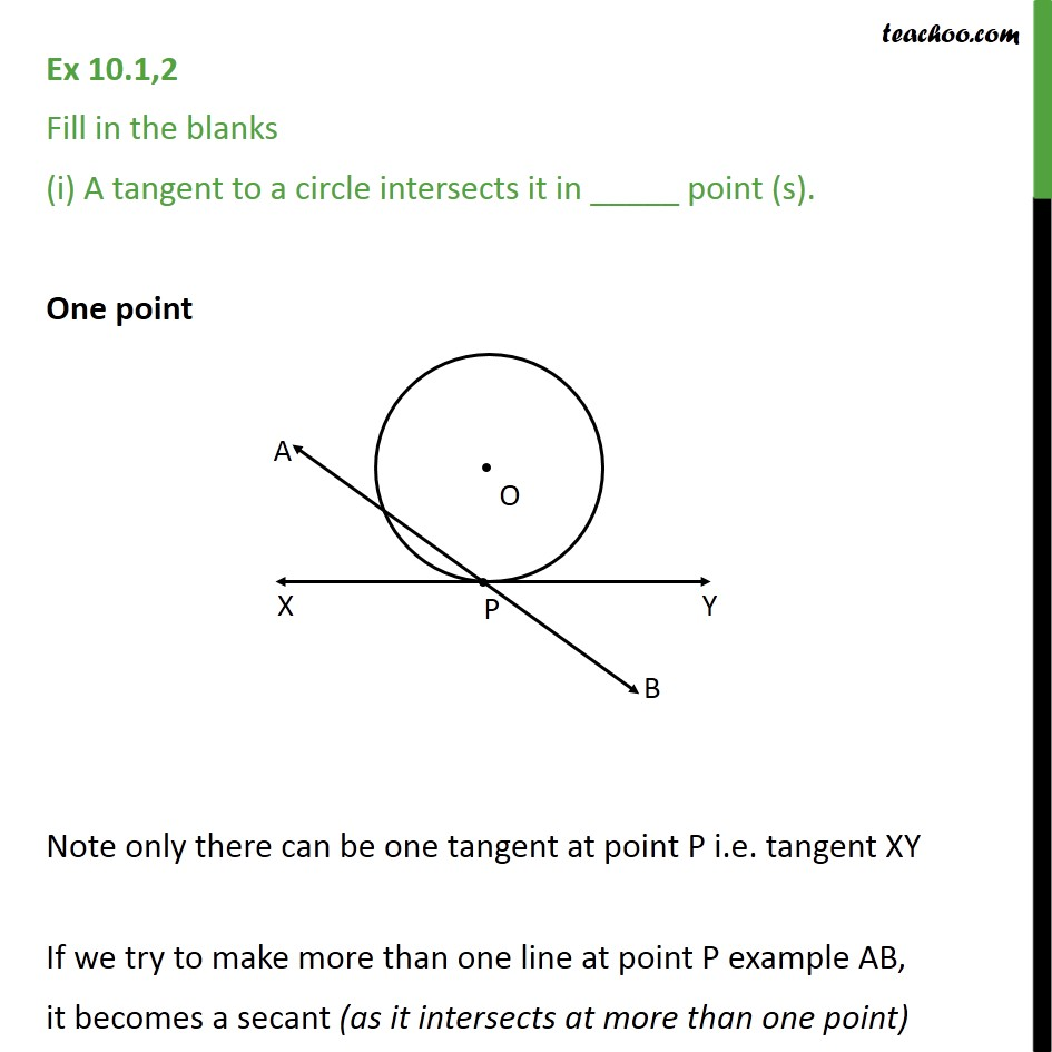 Ex 10.1, 2 - Fill in the blanks - Chapter 10 Class 10 Circles - Ex 10.1