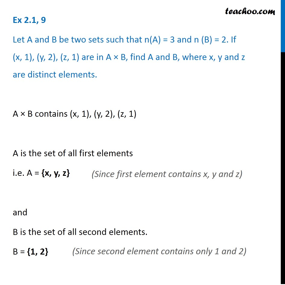Ex 2.1, 9 - Let n(A) = 3 and n(B) = 2. If (x, 1), (y, 2), (z, 1)