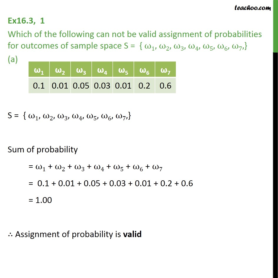 Ex 16.3, 1 - Which can not be valid assignment of probabilities - Basic Formula