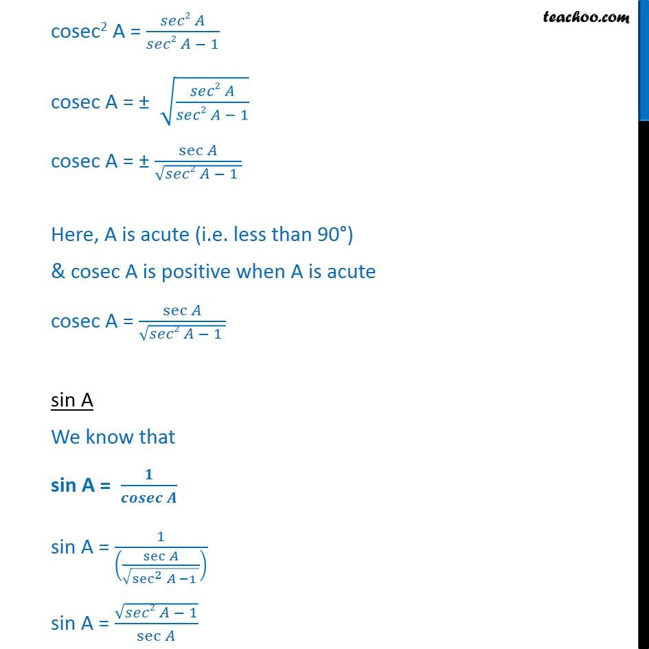 sec a Ex 8.4, 2 - Write all trigonometric ratios in terms of sec A