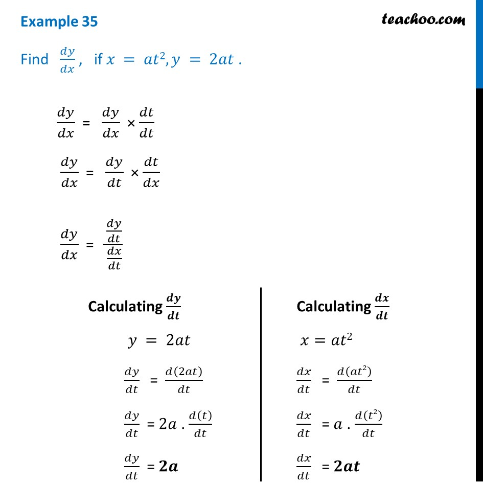 Example 35 - Find dy/dx, if x = at2, y = 2at - Class 12 CBSE