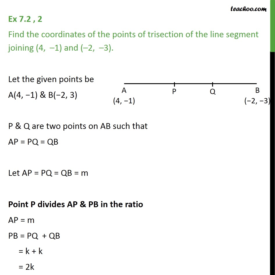 Ex 7.2, 2 - Find coordinates of points of trisection - Ex 7.2