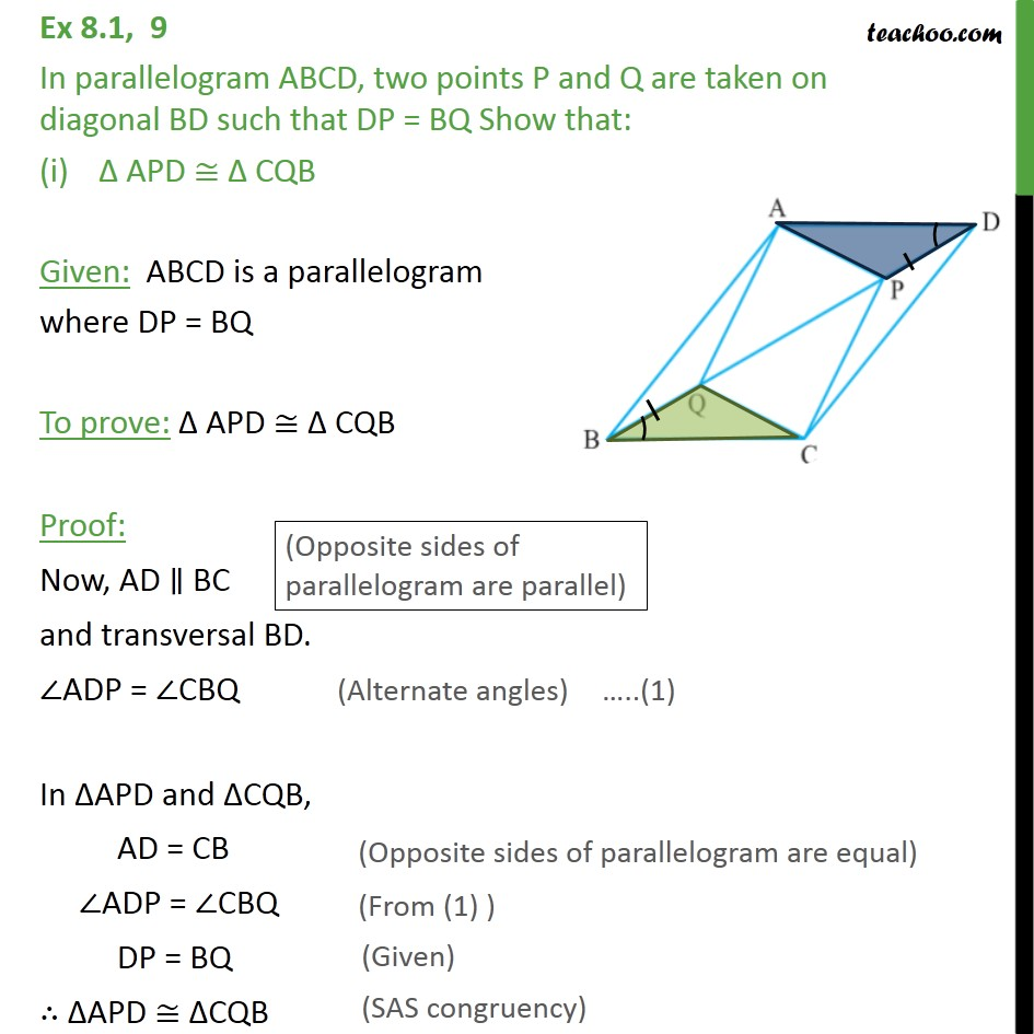 Ex 8.1, 9 - In parallelogram ABCD, two points P and Q - Opposite sides of parallelogram