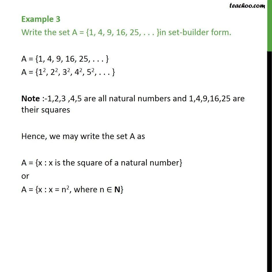 Example 3 - Write A = {1, 4, 9, 16, 25, ...} in set-builder - Depicition of sets - Set builder form