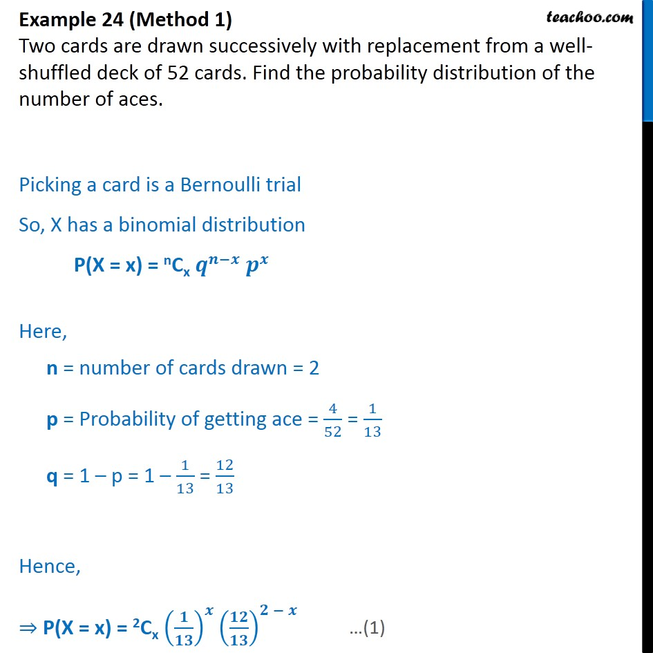 Example 24 - Find probability distribution of number of aces - Examples