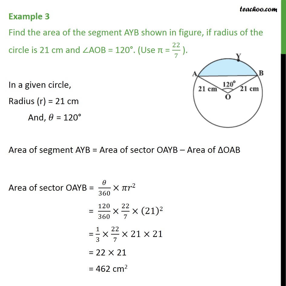 Example 3 - Find the area of segment AYB, if radius 21 cm - Examples