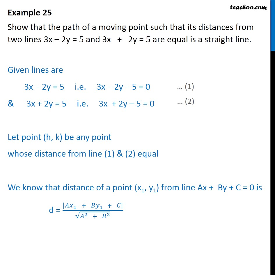 Example 25 - Show that path of a moving point such that distance - Distance of a point from a line