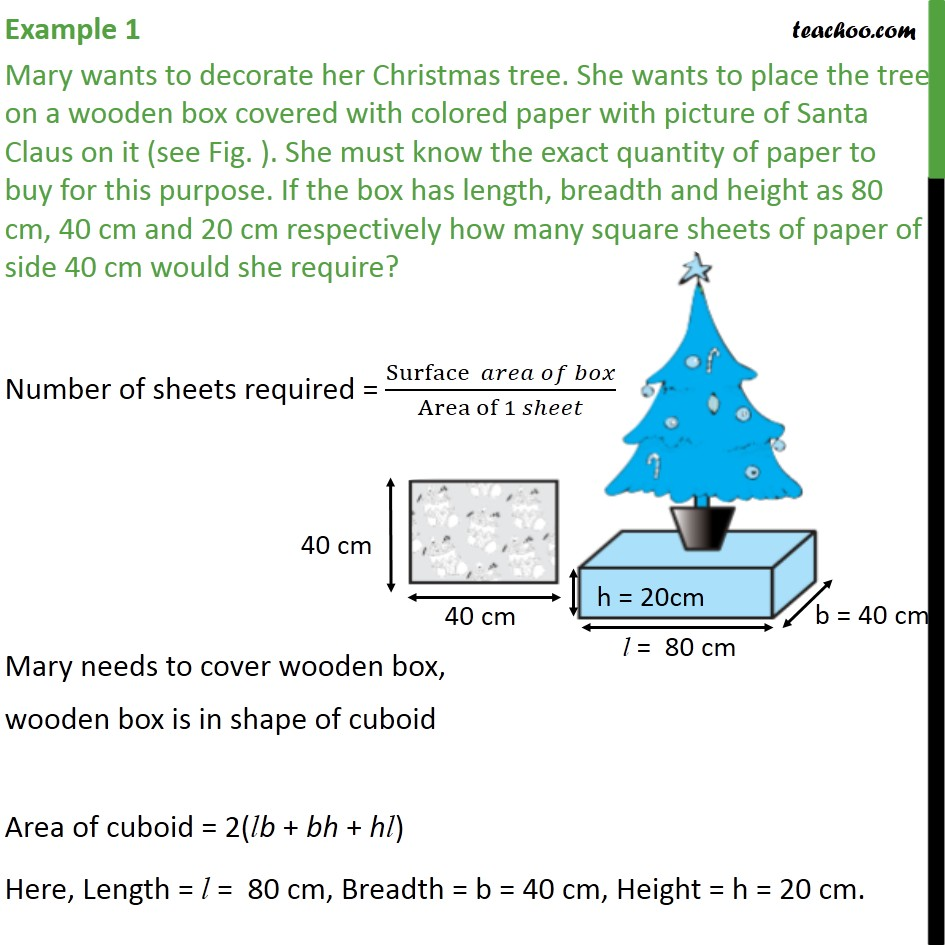 Example 1 - Mary wants to decorate her Christmas tree - Examples