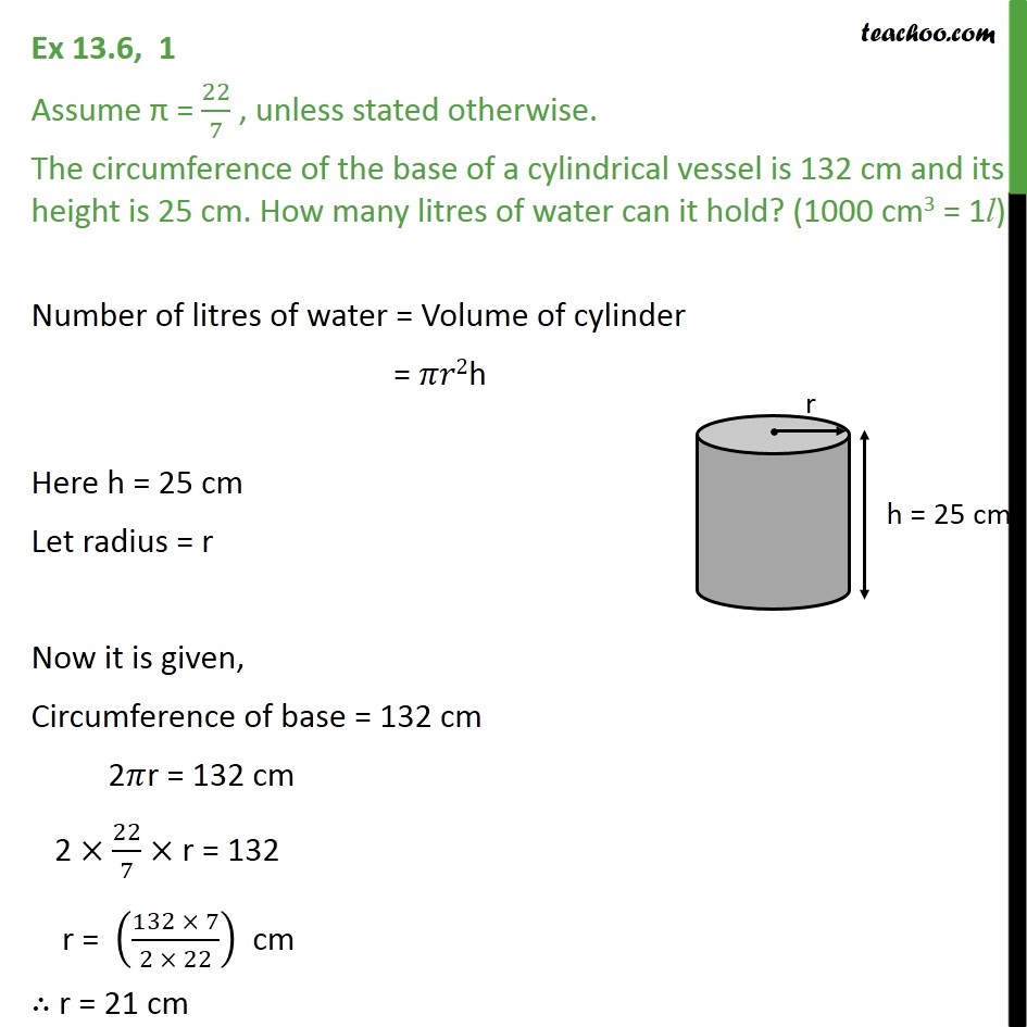 Ex 13.6, 1 - The circumference of base of a cylindrical - Ex 13.6