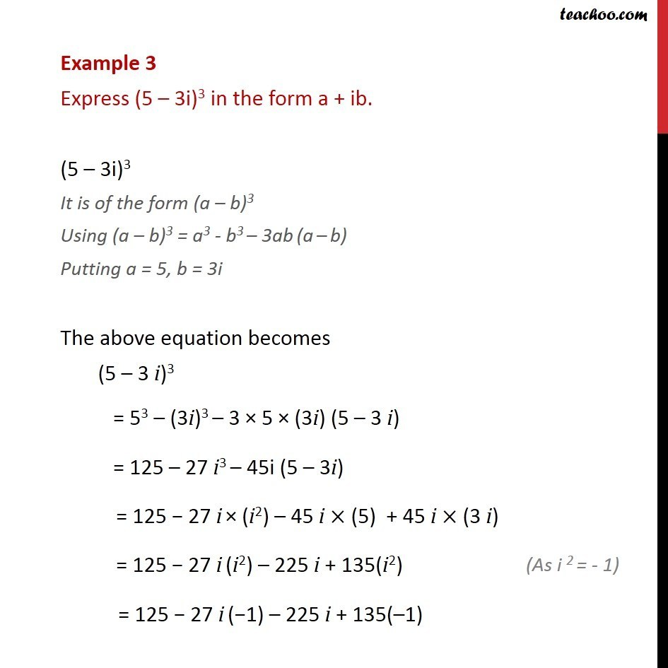 Example 3 - Express (5 - 3i)3 in a + ib - Class 11 NCERT - Identities (square, cube of 2 complex numbers)