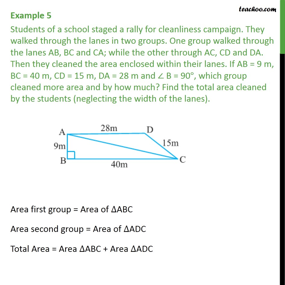 Example 5 - Students of a school staged a rally for - Finding area of quadrilateral
