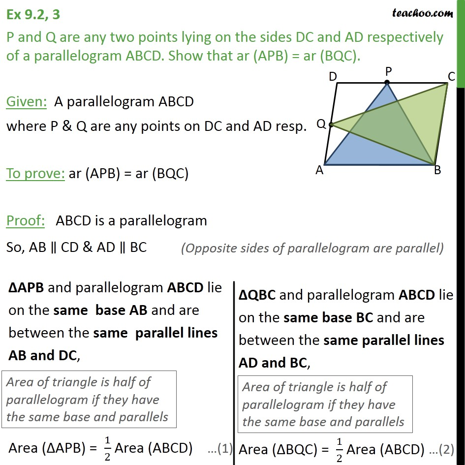Ex 9.2, 3 - P and Q are any two points lying on sides DC - Paralleograms & triangles with same base & same parallel lines