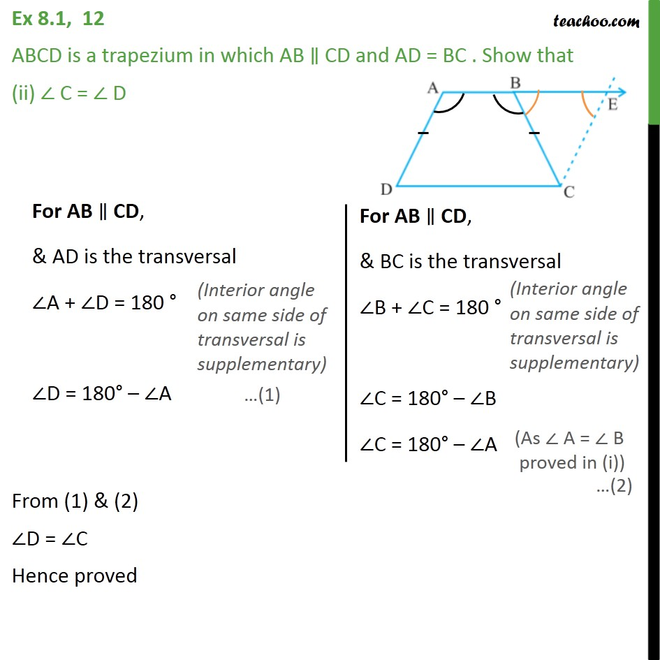 Ex 8.1, 12 - Chapter 8 Class 9 Quadrilaterals - Part 3