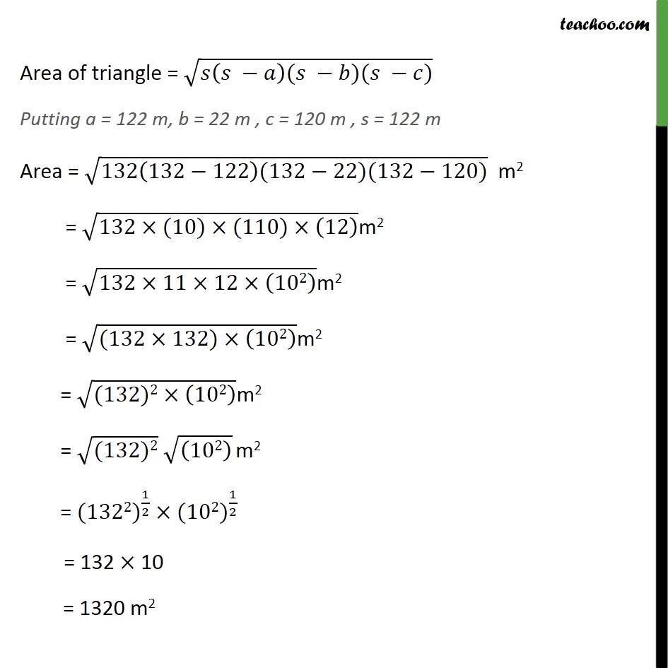 Ex 12.1, 2 - Chapter 12 Class 9 Herons Formula - Part 2