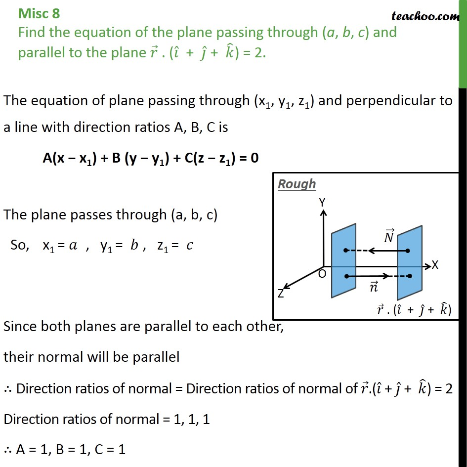 Misc 8 - Find equation of plane passing (a, b, c), parallel - Miscellaneous