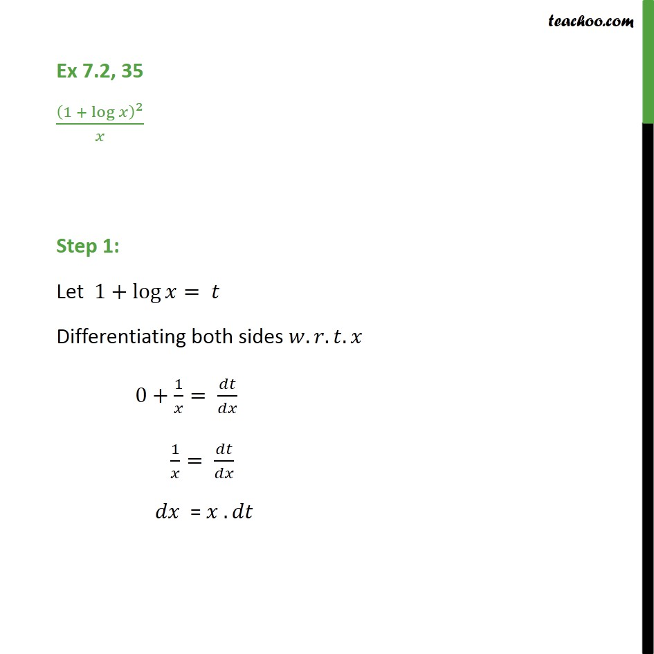 Ex 7.2, 35 - Integrate (1 + log x)2 / x - CBSE NCERT - Integration by substitution - lnx