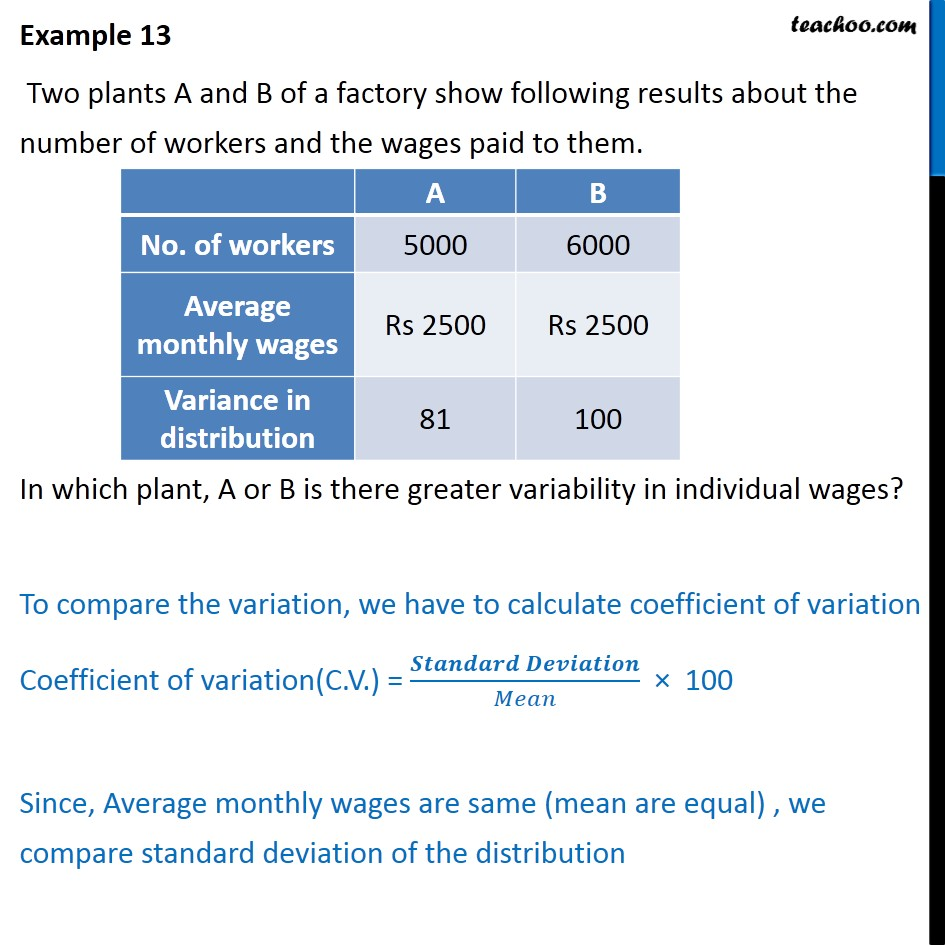 Example 13 - Two plants A and B of a factory show results - Co-efficient of variation