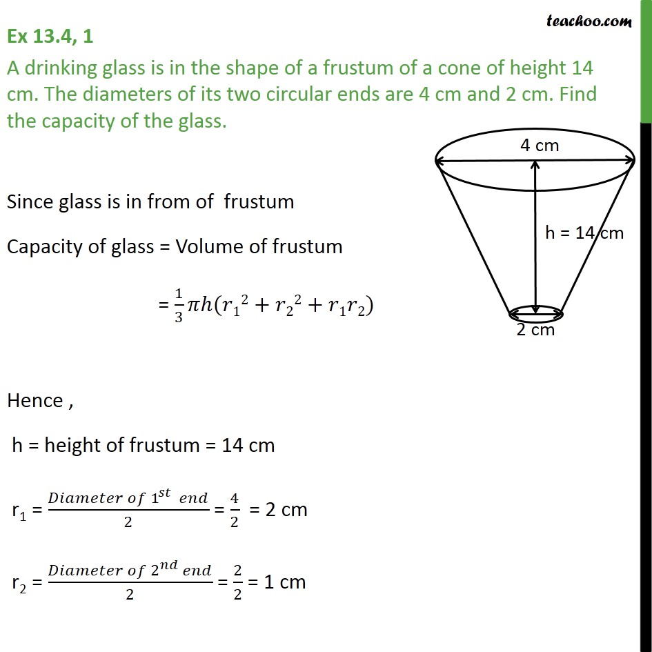 Ex 13.4, 1 - A drinking glass is in shape of a frustum - Frustum