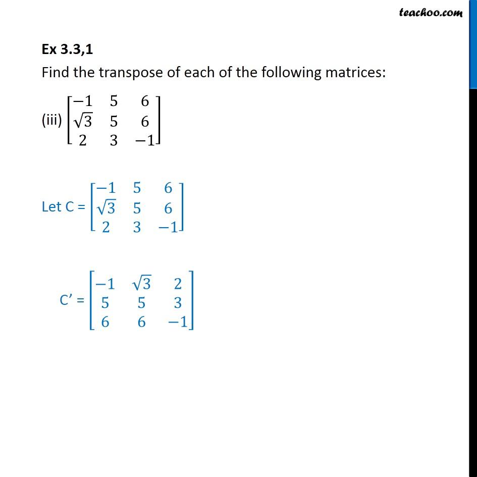 Ex 3.3, 1 - Chapter 3 Class 12 Matrices - Part 3