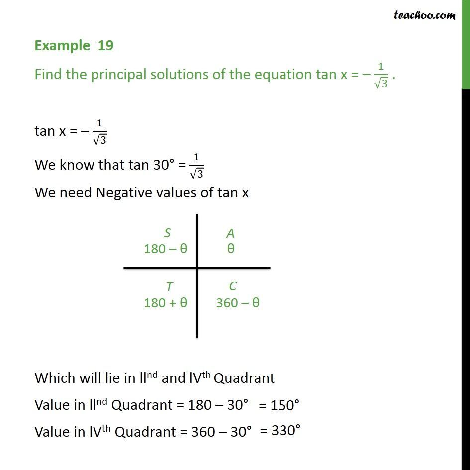 Example 19 - tan x = -1/root 3, find principal solution - Class 11 - Examples