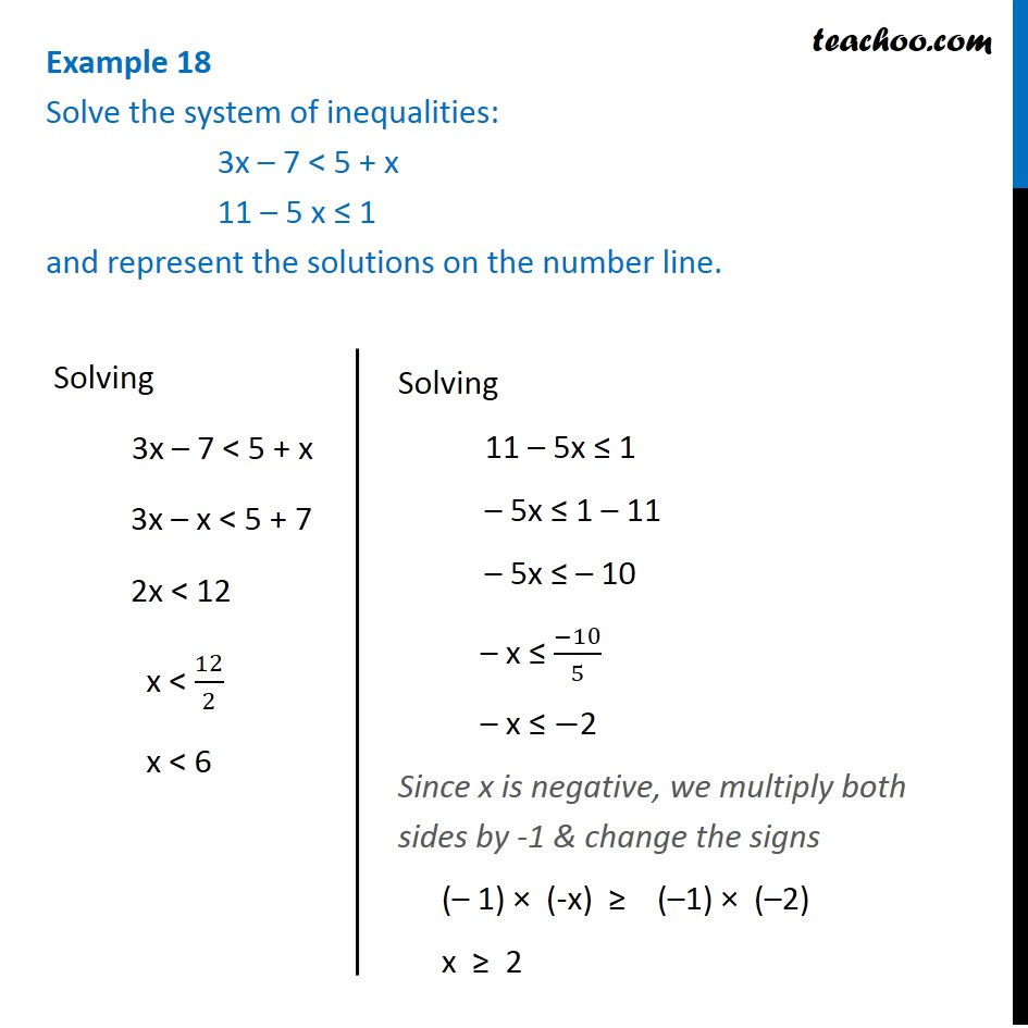 Example 18 - Solve 3x - 7 < 5 + x, 11 - 5x <= 1 on number line
