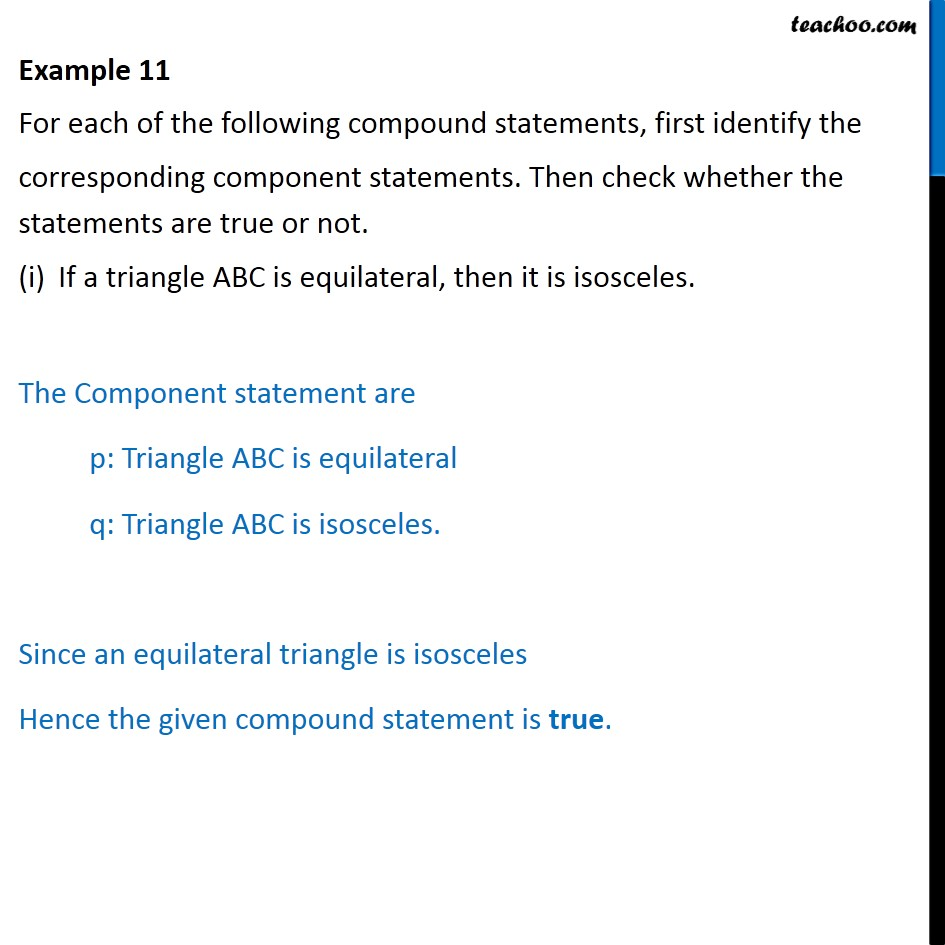 Example 11 - For each compound statements, first identify - Examples