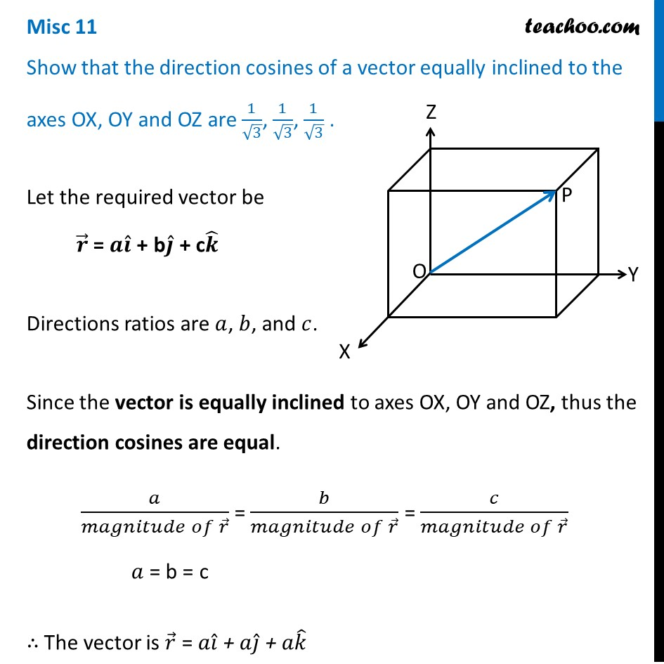 Misc 11 - Show direction cosines of a vector equally inclined