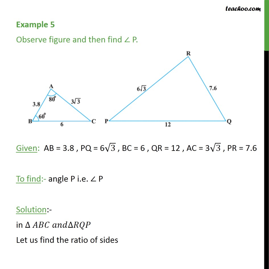 Example 5 - Observe figure and then find angle P. - Examples