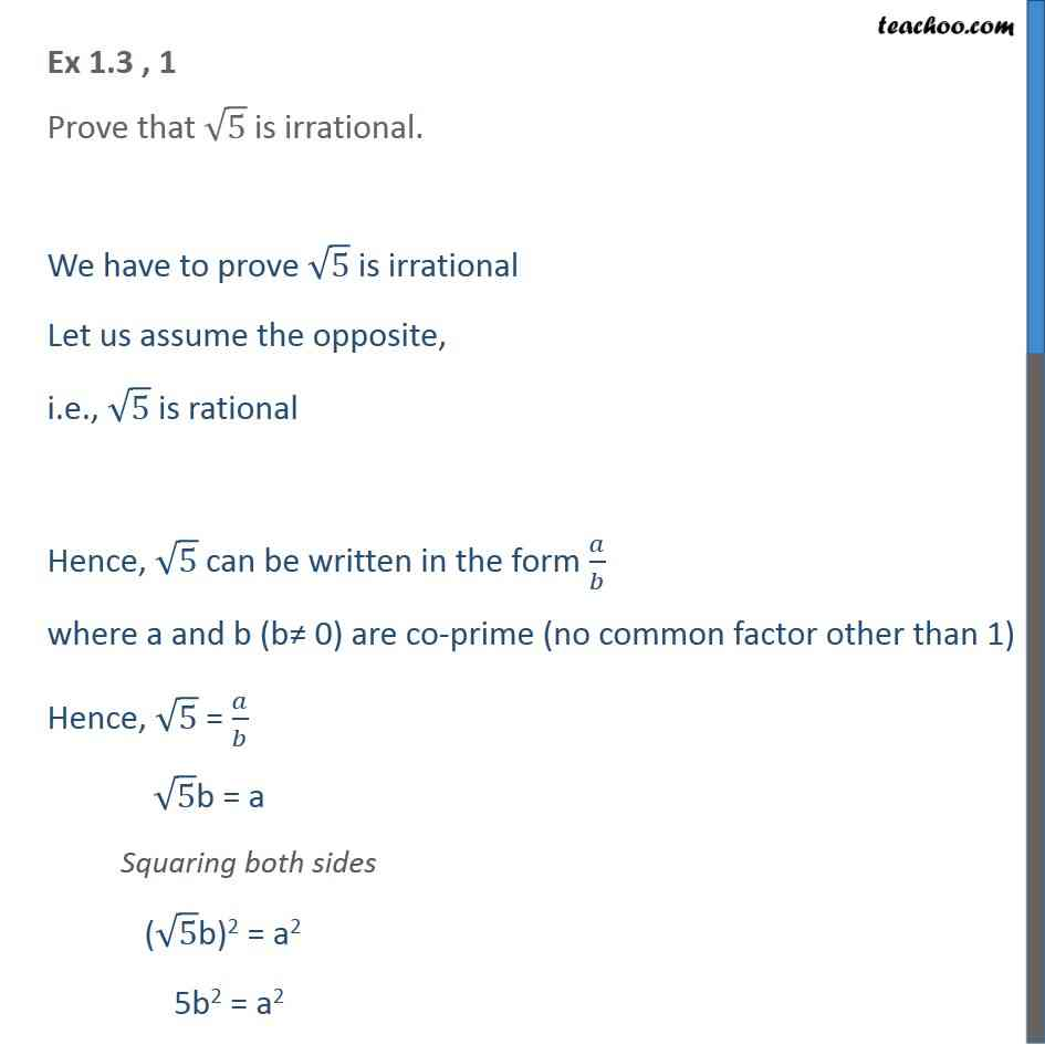 Ex 1.3, 1 - Prove that root 5 is irrational - Ex 1.3