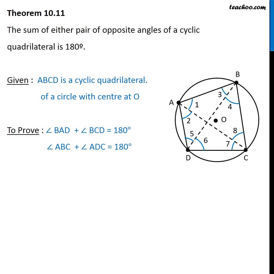 Theorem 1011 Sum Of Opposite Angles In Cyclic Quadrilateral Is 180