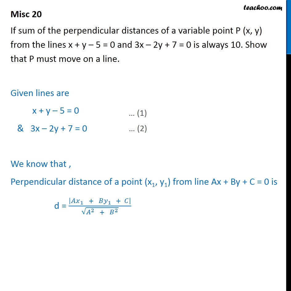 Misc 20 - If sum of perpendicular distances of variable point - Miscellaneous