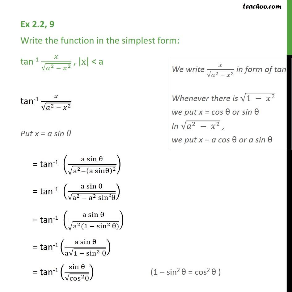 Ex 2.2, 9 - Class 12 Inverse CBSE - tan-1 x/root a2 - x2 - Ex 2.2