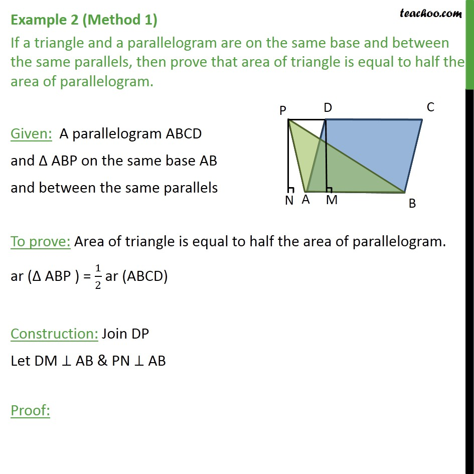 Example 2 - If a triangle and a parallelogram are on same - Paralleograms & triangles with same base & same parallel lines