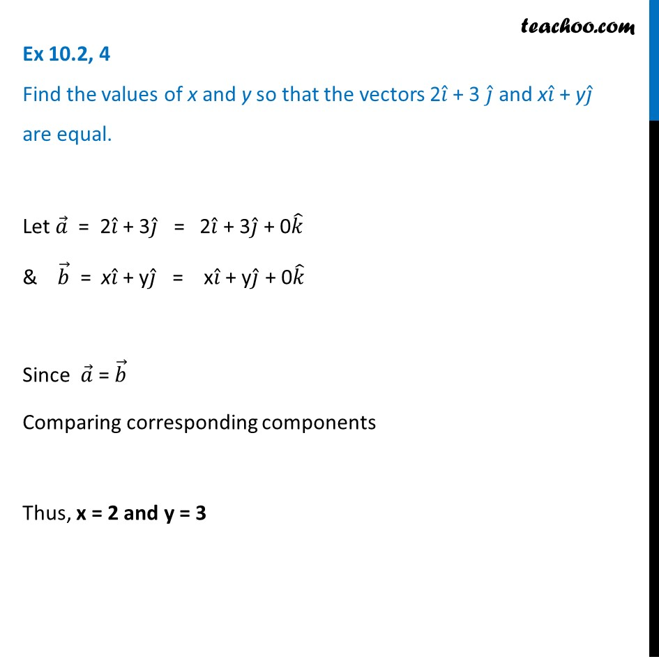 Ex 10.2, 4 -  Find values of x and y so that vectors 2i + 3k and xi+yj