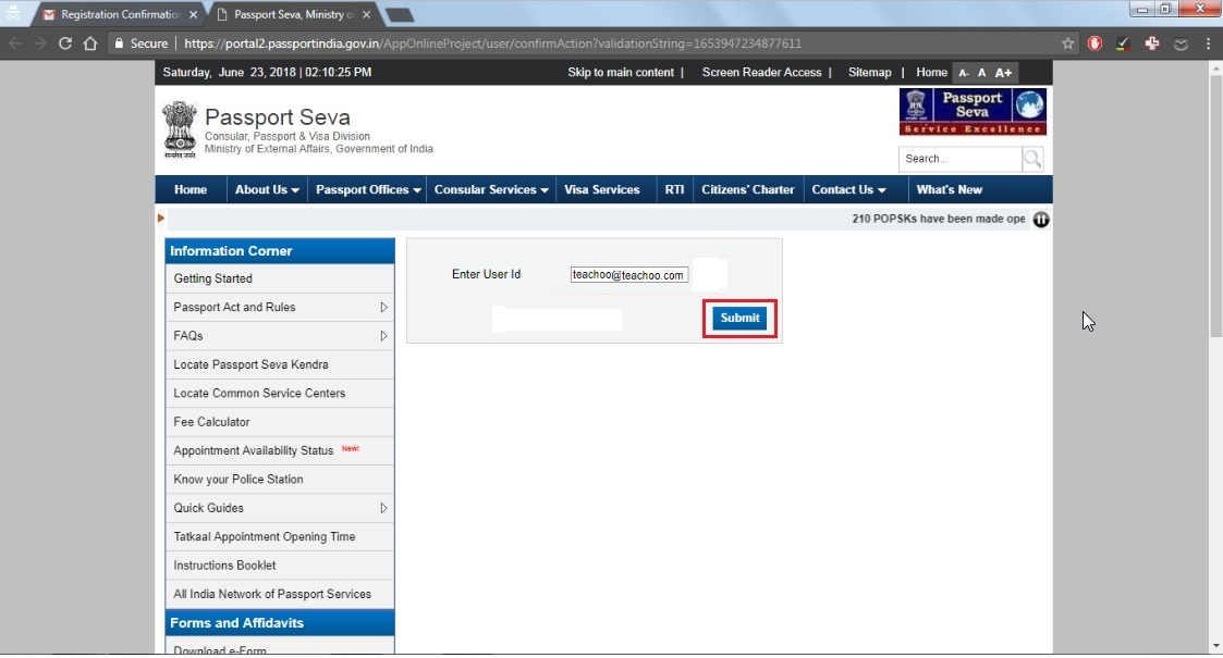 8. Enter user ID then (email ID) then click submit button.jpg