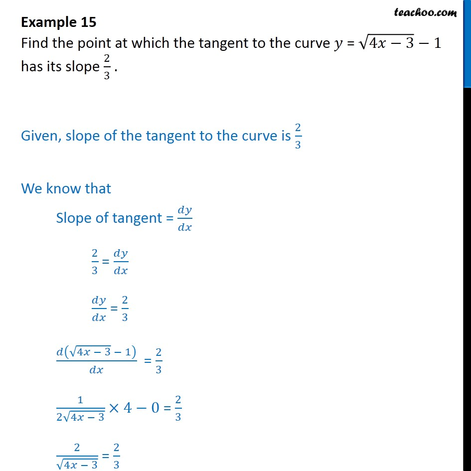 Example 15 - Find point at which tangent to y = root 4x-3 - 1 - Finding point when tangent is parallel/ perpendicular