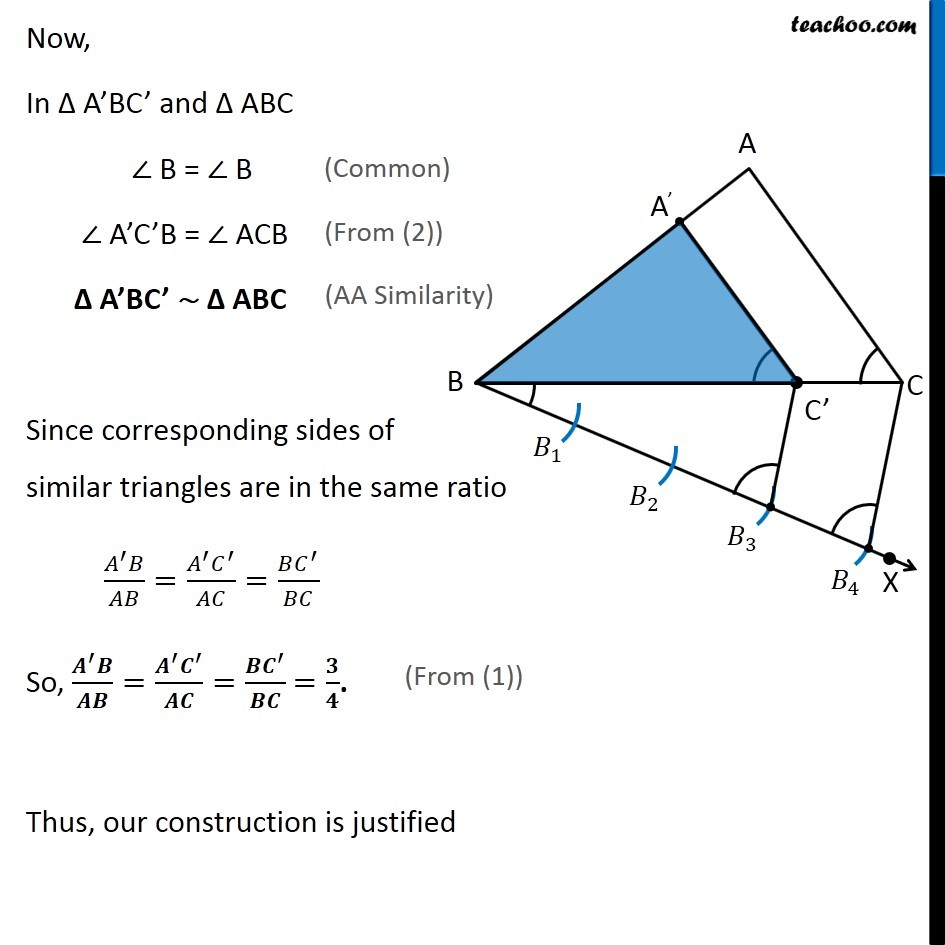 Example 1 - Construct a triangle similar to triangle ABC