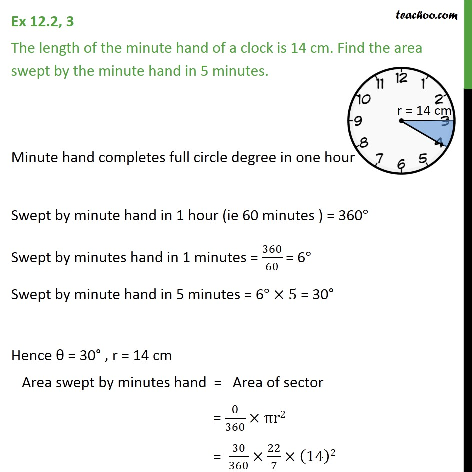 Ex 12.2, 3 - The length of minute hand of a clock is 14 cm - Ex 12.2