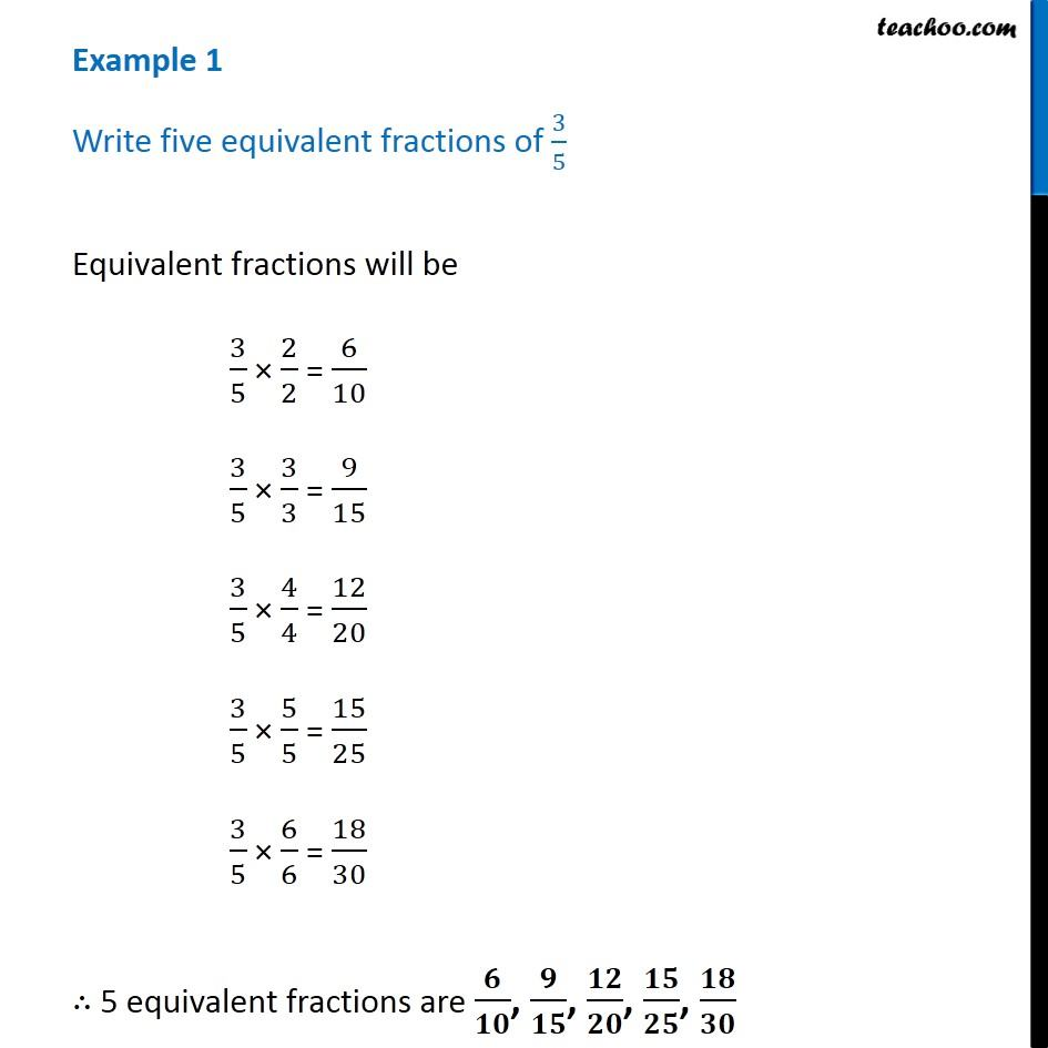 example 1 - write five equivalent fractions of 3/5 - teachoo