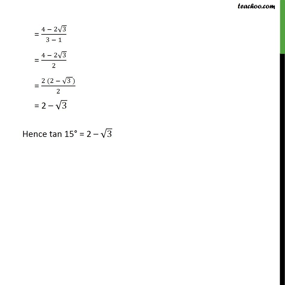 Ex 3.3, 5 (ii)- Find the value of tan 15 degree Chapter 3 Class 11 Trigonometric Functions - Slide 3