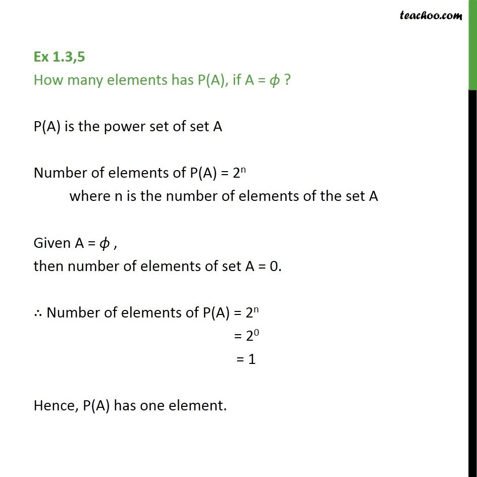 Ex 1.3, 5 - How many elements has P(A), if A = null - Power Set