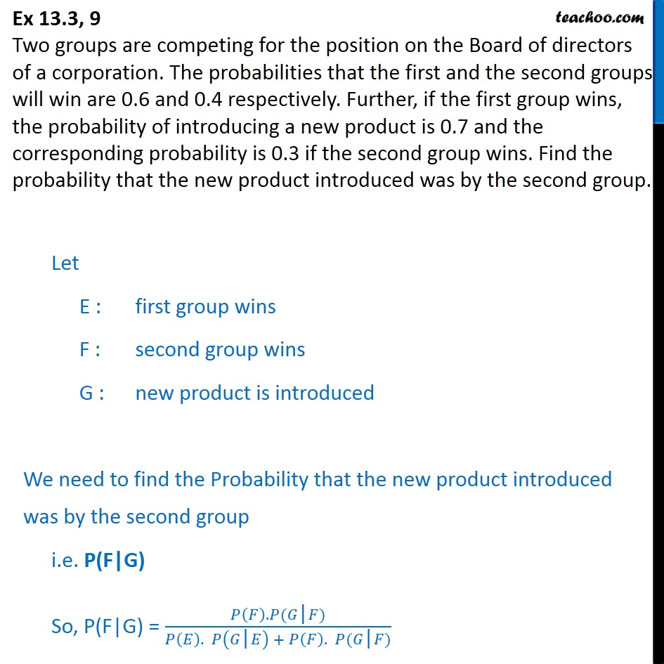 Ex 13.3, 9 - Two groups are competing for position on Board - Ex 13.3