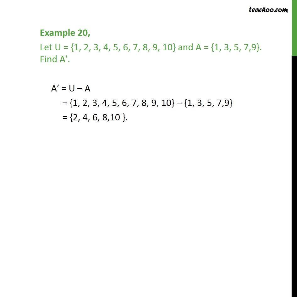 Example 20 - Let A = {1, 3, 5, 7,9}. Find A' - Chapter 1 Sets - Examples