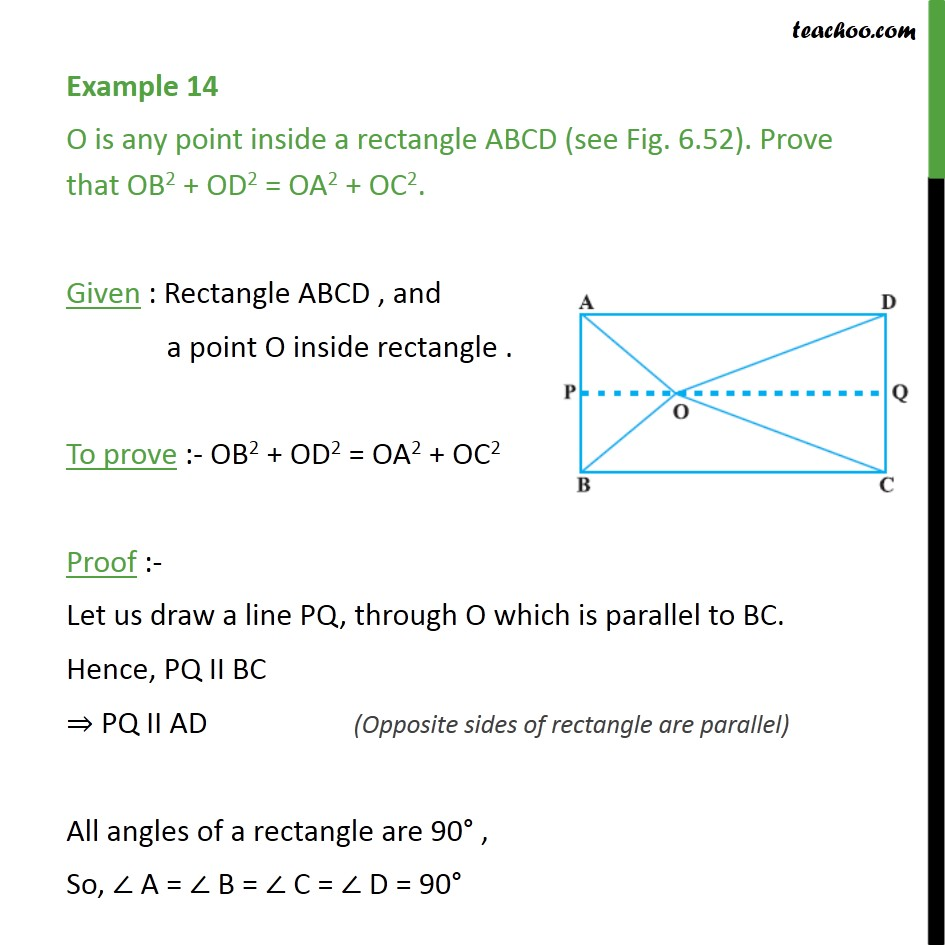 Example 14 - O is any point inside a rectangle ABCD - Examples