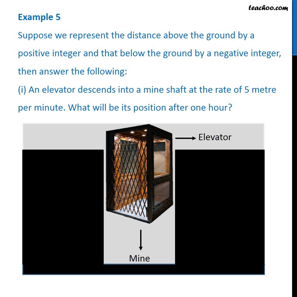 Example 5 - Suppose we represent distance above ground by a positive